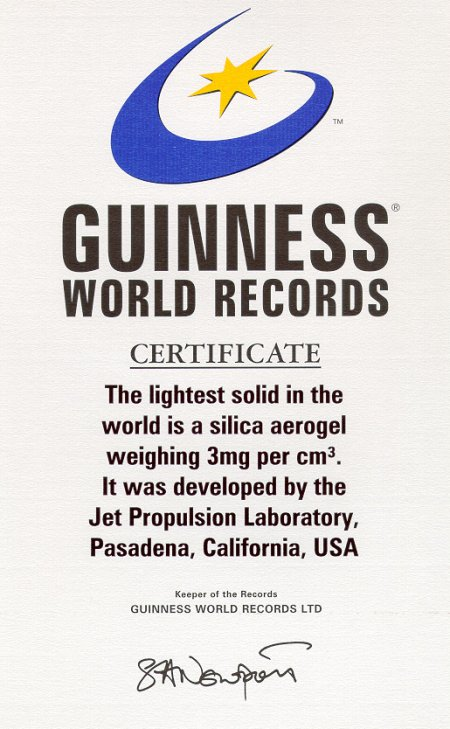 Aerogel Guinness World Record