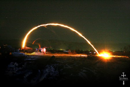 Fireball throwing robotic catapult