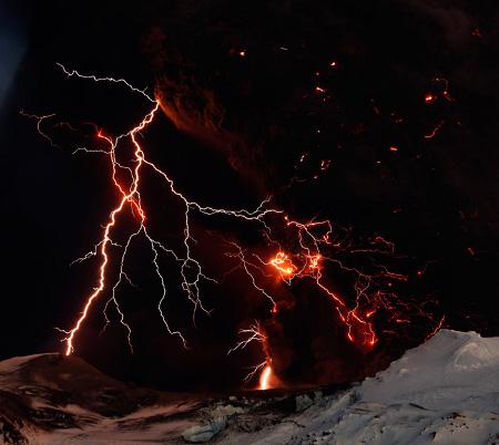 iceland volcano lightning. of dirty lightning,